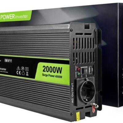 Green Cell Przetwornica samochodowa Green Cell 12V do 230V 2000W/4000W Czysta sinusoida INV11