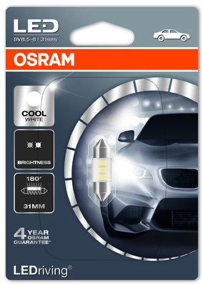 OSRAM Festoon C5W** 31mm Cool White 6000 K 12V 0,5W SV8.5-8